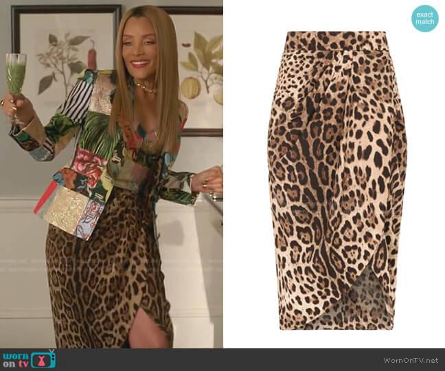 Leopard-Print Wrap Skirt by Dolce & Gabbana worn by Dominique Deveraux (Michael Michele) on Dynasty