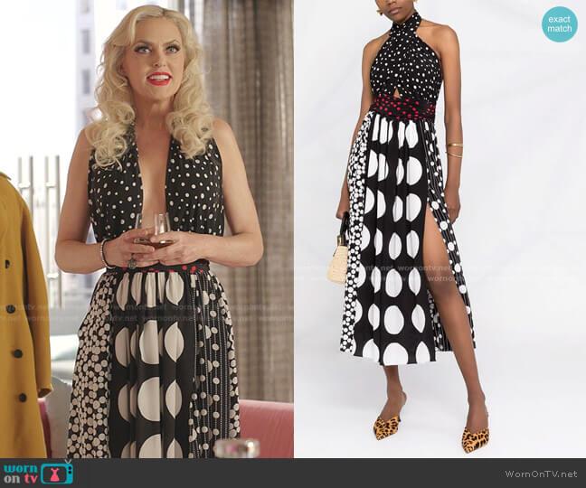 Polka Dot Halterneck Dress by Dolce & Gabbana worn by Alexis Carrington (Elaine Hendrix) on Dynasty