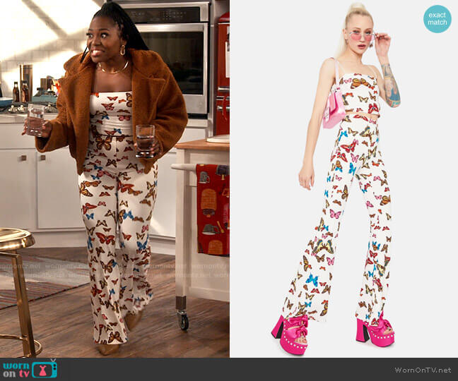 Dolls Kill Wings Of Change Butterfly Print Top & Flares worn by Harper (Laci Mosley) on iCarly