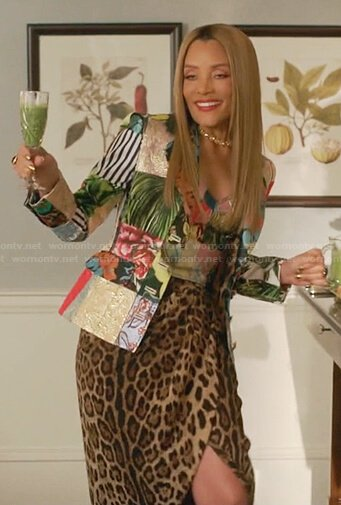 Dominique's patchwork blazer and leopard skirt on Dynasty