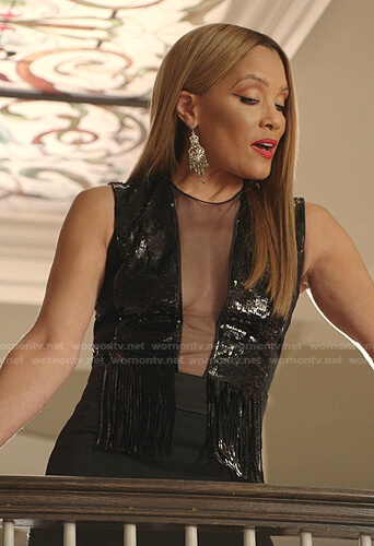 Dominique's black sequin fringed mesh panel jumpsuit on Dynasty
