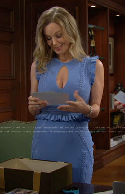 Donna's blue ruffle trim keyhole dress on The Bold and the Beautiful