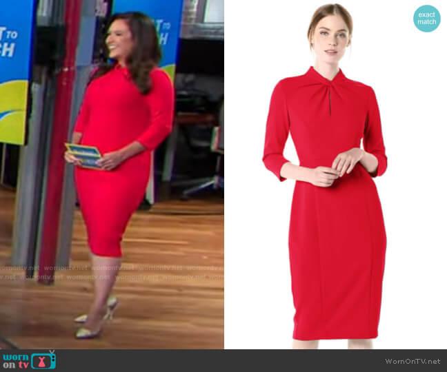 Donna Morgan Twisted Neckline Sheath Dress worn by Nikki Battiste on CBS This Morning