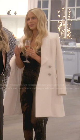 Dorit's black embroidered jumpsuit on The Real Housewives of Beverly Hills
