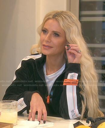 Dorit's black velvet track jacket on The Real Housewives of Beverly Hills