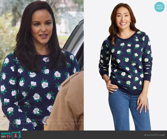 Natalie Sweatshirt in Magnolia by Draper James worn by Amy Santiago (Melissa Fumero) on Brooklyn Nine-Nine