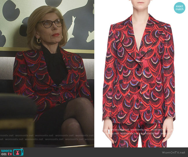 Single-Breasted Two-Button Peacock-Jacquard Blazer by Dries Van Noten worn by Diane Lockhart (Christine Baranski) on The Good Fight