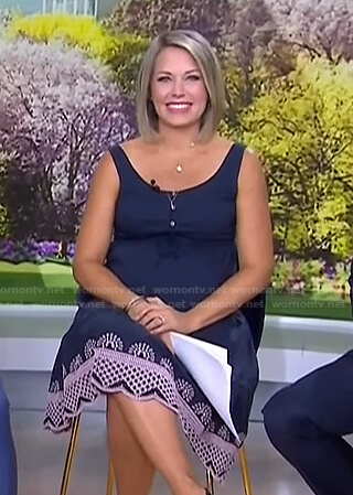 Dylan's navy embroidered maternity dress on Today