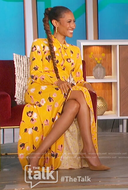Elaine's yellow floral print dress on The Talk
