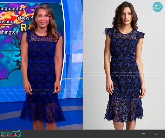 Two Tone Lace Dress by Elie Tahari worn by Ginger Zee  on Good Morning America