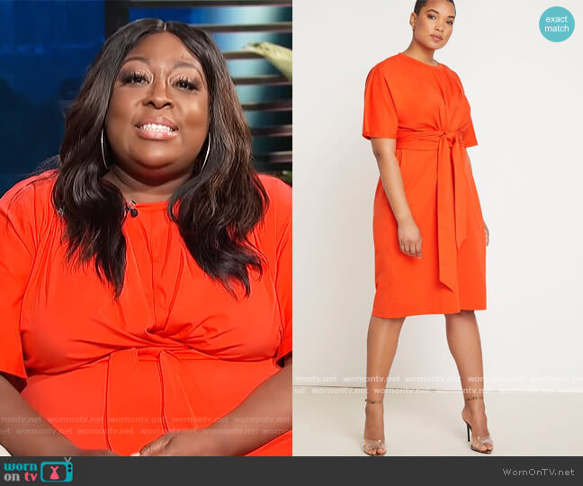 Cross Front Flutter Sleeve Dress by Eloquii worn by Loni Love  on E! News