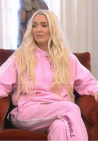 Erika's pink side striped hoodie and jogger pants on The Real Housewives of Beverly Hills