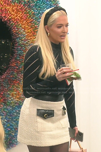Erika's white tweed mini skirt on The Real Housewives of Beverly Hills