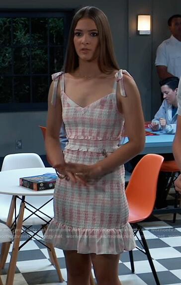 Esme's tweed smocked mini dress on General Hospital