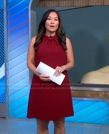 Eva's burgundy sleeveless maternity dress on Good Morning America