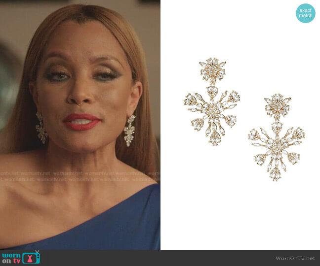 Monarch Snowflake Chandelier Earrings by Fallon worn by Dominique Deveraux (Michael Michele) on Dynasty