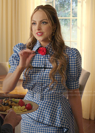 Fallon's blue gingham check blouse and skirt on Dynasty