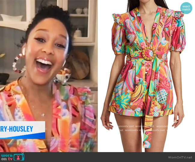 Fruit Salad Belted Romper by FARM Rio worn by Tamera Mowry on E! News Daily Pop