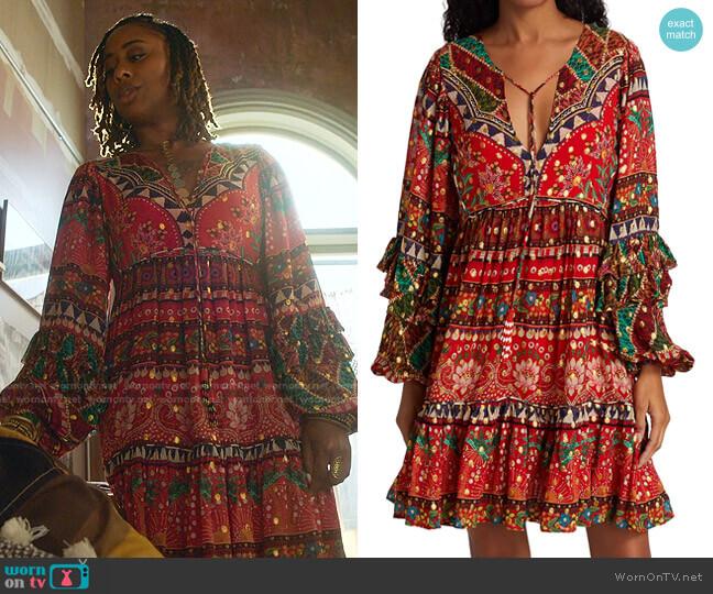 Tropical Shine Mini Dress by Farm Rio worn by Malika Williams (Zuri Adele) on Good Trouble