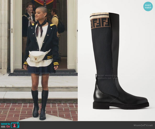 Logo-Jacquard Stretch-Knit and Leather Knee Boots by Fendi worn by Julien Calloway (Jordan Alexander) on Gossip Girl