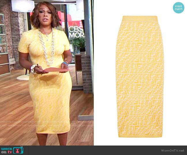 Fendi Fisheye Skirt worn by Gayle King  on CBS Mornings