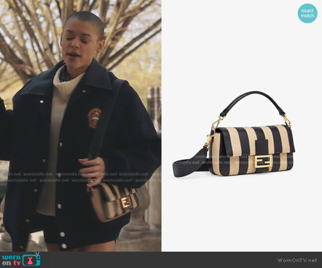 Python Leather Baguette Bag with Beige Inlaid Striped Pequin Motif by Fendi worn by Julien Calloway (Jordan Alexander) on Gossip Girl