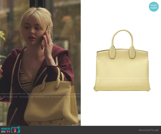 The Studio Leather Top Handle Bag by Salvatore Ferragamo worn by Audrey Hope (Emily Alyn Lind) on Gossip Girl