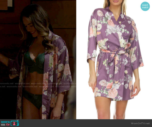 Flora Nikrooz Arisa Floral Charmeuse Wrap worn by Hope Logan (Annika Noelle) on The Bold & the Beautiful