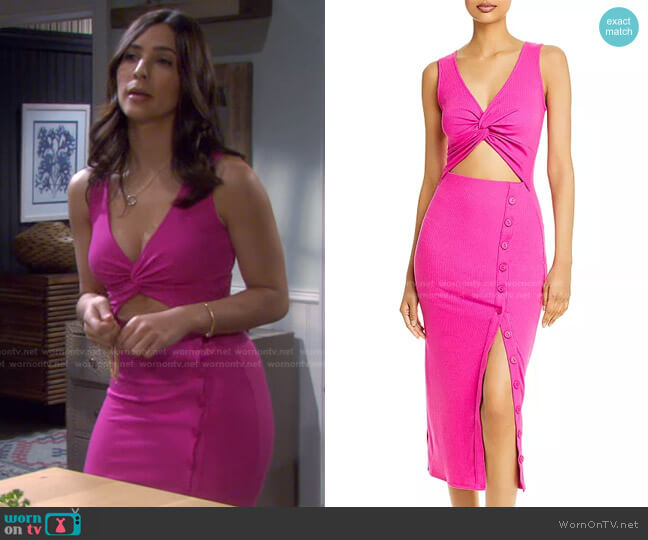 Ribbed Cutout Midi Dress by Fore worn by Gabi Hernandez (Camila Banus) on Days of our Lives