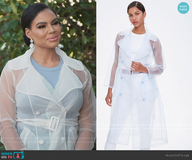 Belted Organza Trench Coat by Forever 21 worn by Mia Thornton  on The Real Housewives of Potomac