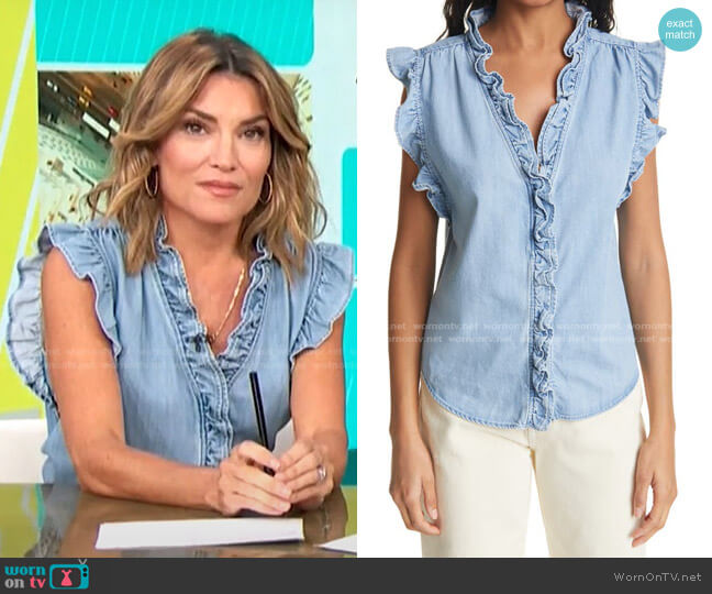 Lauren Ruffle Trim Top by Frame worn by Kit Hoover  on Access Hollywood