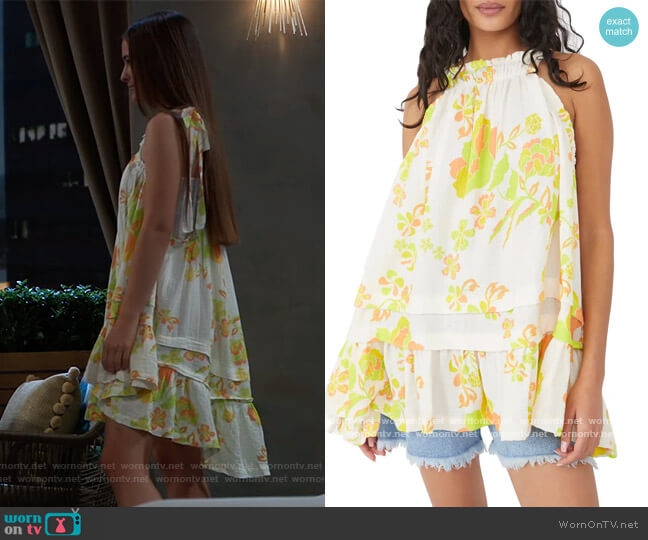 Fleur Print Tunic Top by Free People worn by Avery Kristen Pohl on General Hospital worn by Esme (Avery Kristen Pohl) on General Hospital