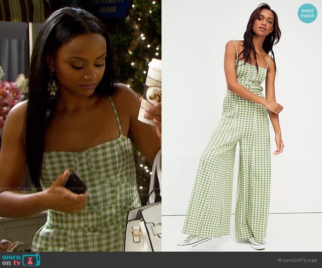 Hold Me Tight Jumpsuit by Free People worn by Chanel Dupree (Raven Bowens) on Days of our Lives