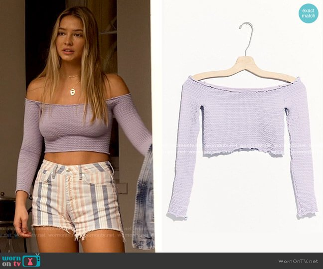 Free People Textured Long Sleeve Crop Top worn by Sarah Cameron (Madelyn Cline) on Outer Banks
