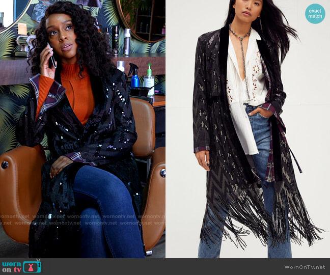 Free People Stardust Sequin Duster worn by Karen Mott (Ebony Obsidian) on Tyler Perrys Sistas