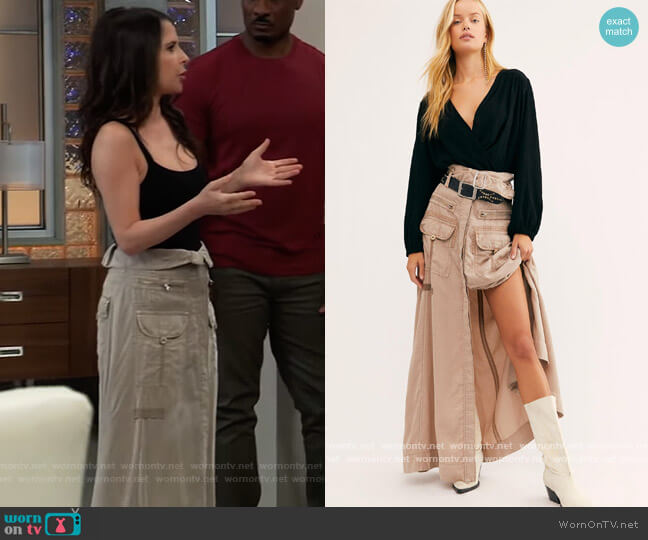 The Feeling of Falling Utility Skirt by Free People worn by Sam McCall (Kelly Monaco) on General Hospital