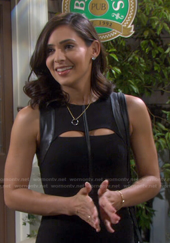 Gabi's black cutout leather-trim dress on Days of our Lives