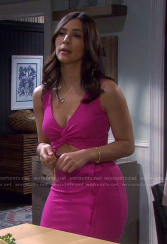 Gabi's pink cutout dress on Days of our Lives
