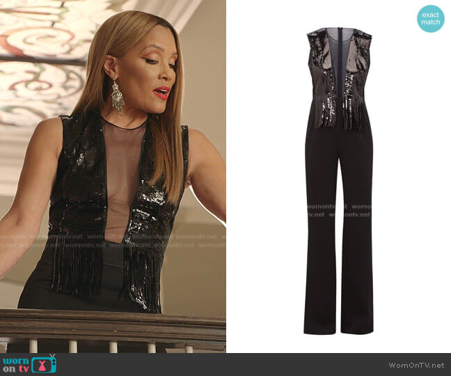 Lena Sequin, Mesh and Satin Wide-Leg Jumpsuit by Galvan worn by Dominique Deveraux (Michael Michele) on Dynasty