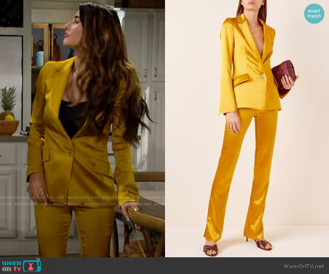 Galvan Satin Blazer and Pants worn by Steffy Forrester (Jacqueline MacInnes Wood) on The Bold & the Beautiful