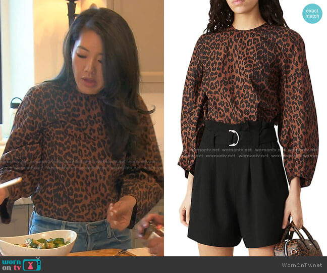 Leopard Cotton Blouse by Ganni worn by Crystal Kung Minkoff  on The Real Housewives of Beverly Hills