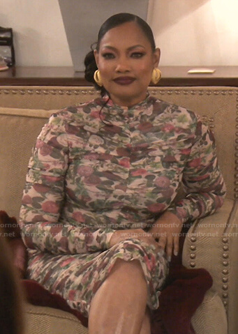 Garcelle's floral ruched dress on The Real Housewives of Beverly Hills