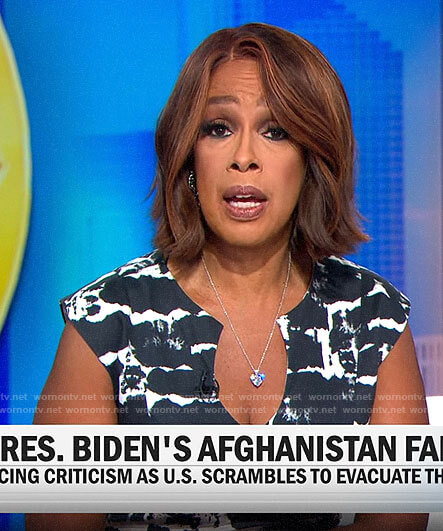 Gayle King's black and white abstract print dress on CBS This Morning