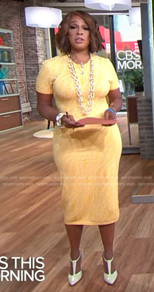 Gayle King's yellow monogram print top and skirt set on CBS This Morning