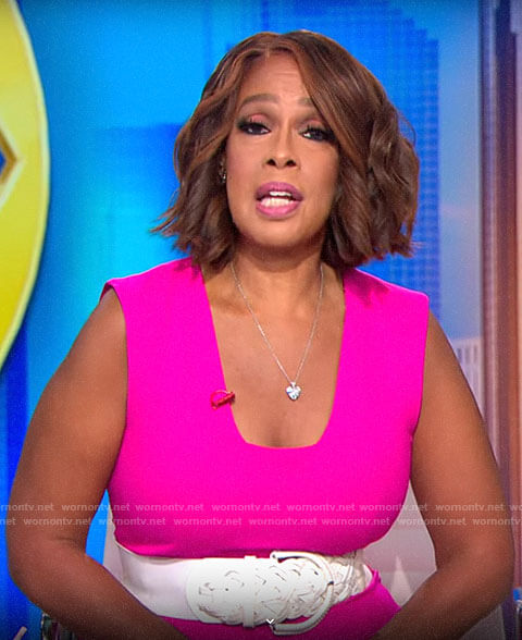 Gayle King's pink square neck dress on CBS This Morning