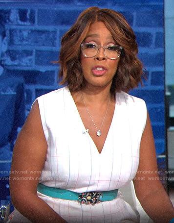 Gayle King's white plaid v-neck dress on CBS This Morning