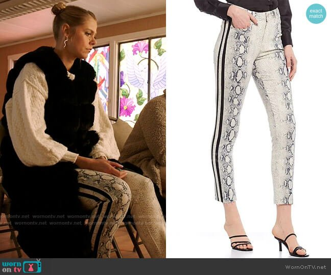 Gianni Bini Fiona Snake Print Straight Leg Jeans worn by Isobel Evans-Bracken (Lily Cowles) on Roswell New Mexico