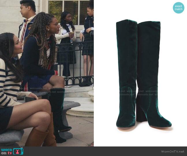 Regan Velvet Knee Boots by Gianvito Rossi worn by Monet de Haan (Savannah Lee Smith) on Gossip Girl