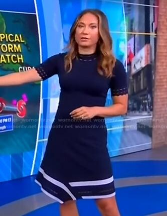 Ginger's navy asymmetric dress on Good Morning America