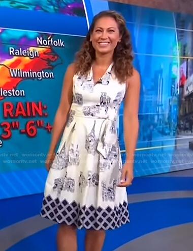 Ginger's white house print dress on Good Morning America